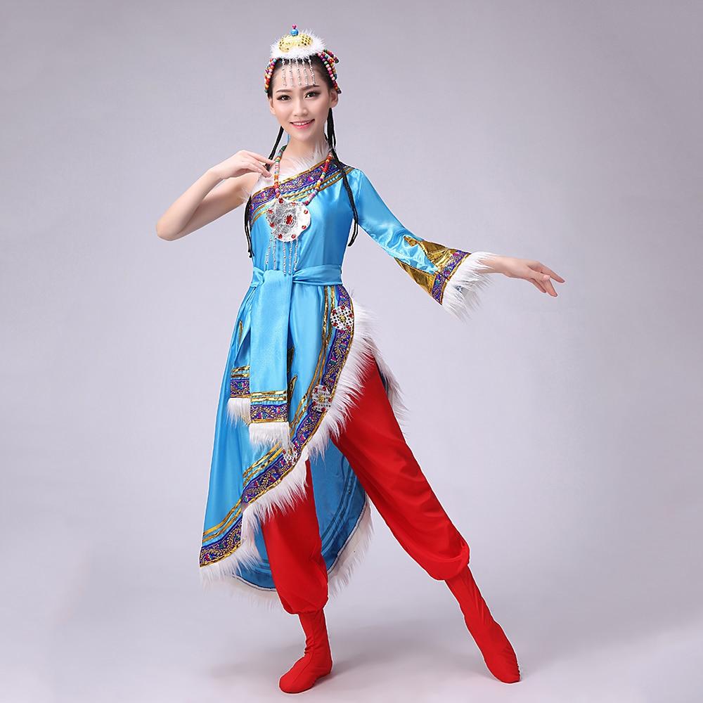 Etnična manjšina Tibetanski plesni kostum Nacionalna predstava - Nacionalni oblačila
