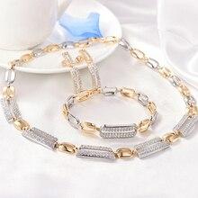 GULICX Luxury Personality jewelry White AAA cubic zircon rectangle glitter drop Earrings women  Jewelry Sets Best For Wedding