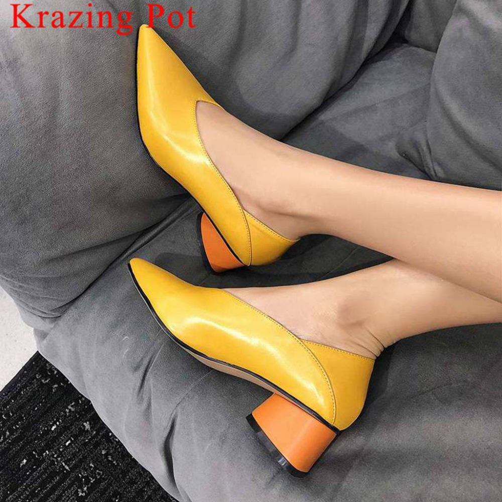 Krazing Pot Newest Genuine Leather Slip On Pointed Toe Office Lady Med Heels Mixed Colors Woman Pumps Career Dress Shoes L6f6