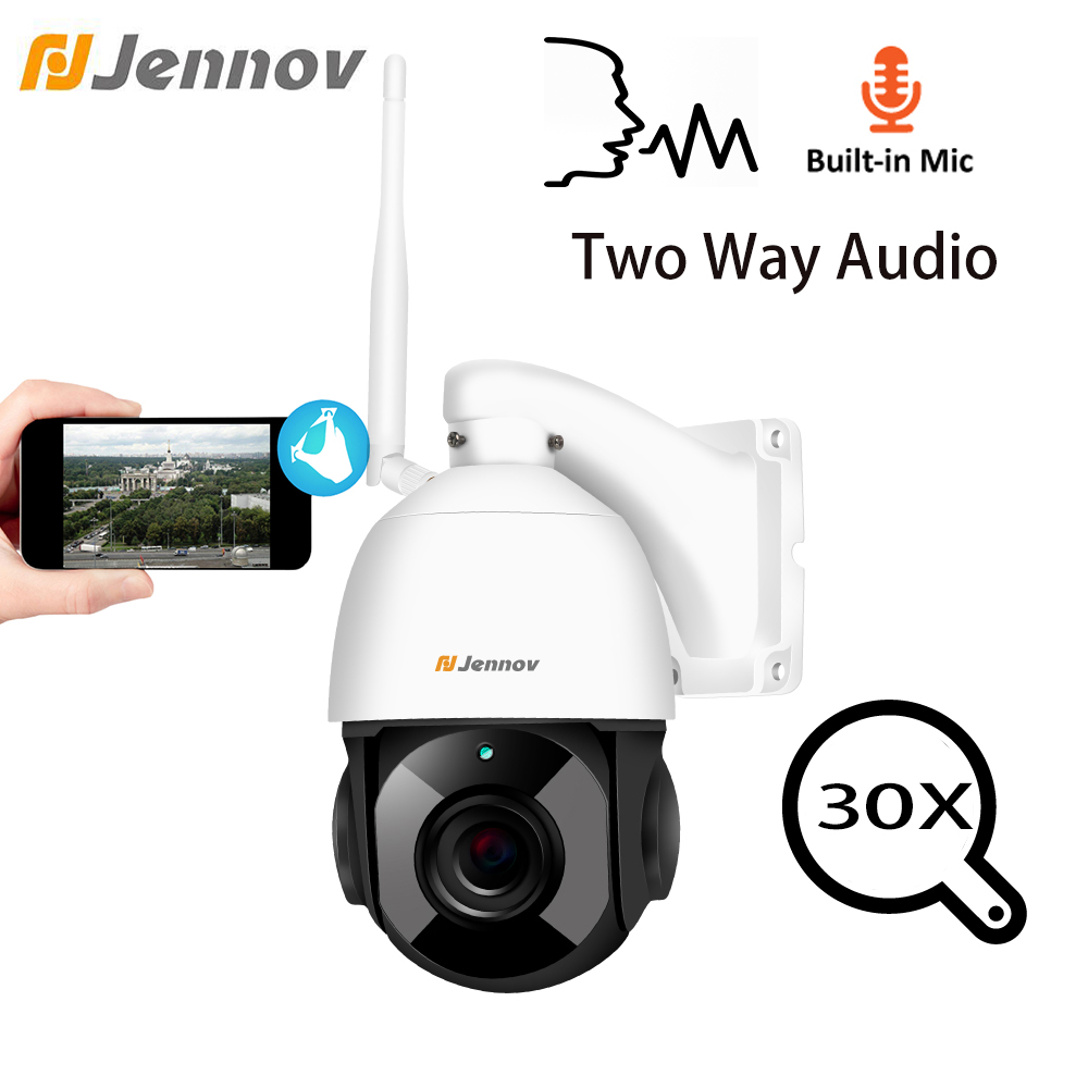 Jennov 1080 p Da 4.5 Pollici 30X Zoom PTZ del CCTV di Sicurezza Telecamera Speed Dome Video Sorveglianza IP telecamera Esterna WiFi Due way Audio ONVIF