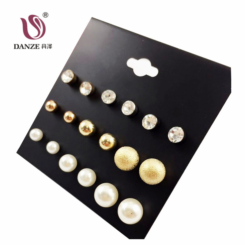 DANZE 2017 Punk Fashion Simulated pearl Stud Earrings Set for women metal Ball claire Crystal hanging Earring Aros brincos