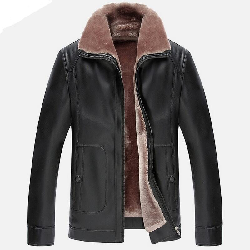 2016 Exports Russian Winter Thick Men Leather Jacket Garment Business Casual Flocking Mens High Quality Leather Jacket Men