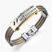Hombres de acero inoxidable pulsera brazalete de tres filas trenzada de alambre de acero para hombre pulsera de lujo hombres entre el oro de la CZ diamond bracelet