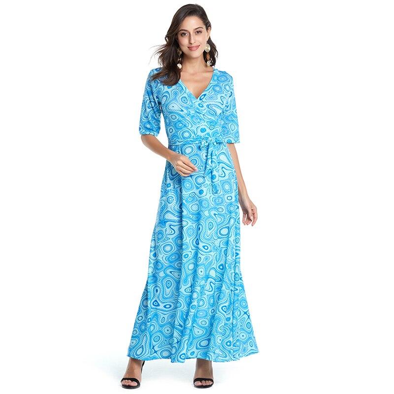 Летнее Повседневное платье женское длинное платье с цветочным принтом винтажное платье с v-образным вырезом модное платье в горошек рукава ...