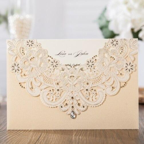 Wishmade лазерная резка свадебные приглашения держателя карты 50 шт. золото полые Invite Дизайн Обручение девичник для печати CW6115