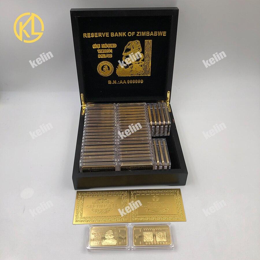 HEIßER 50 stücke 100 Trillion Dollar Simbabwe Gold Banknoten Bar Münze mit Nizza Schwarz Holz Box für Weihnachten neue jahr geschenk-in Gold-Banknoten aus Heim und Garten bei  Gruppe 1