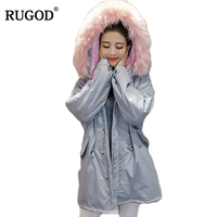 RUGOD 2018 Winter Jacket Women Slim Tunic Long Lambwool Parka Faux Fox Fur Collar Hooded Parkas