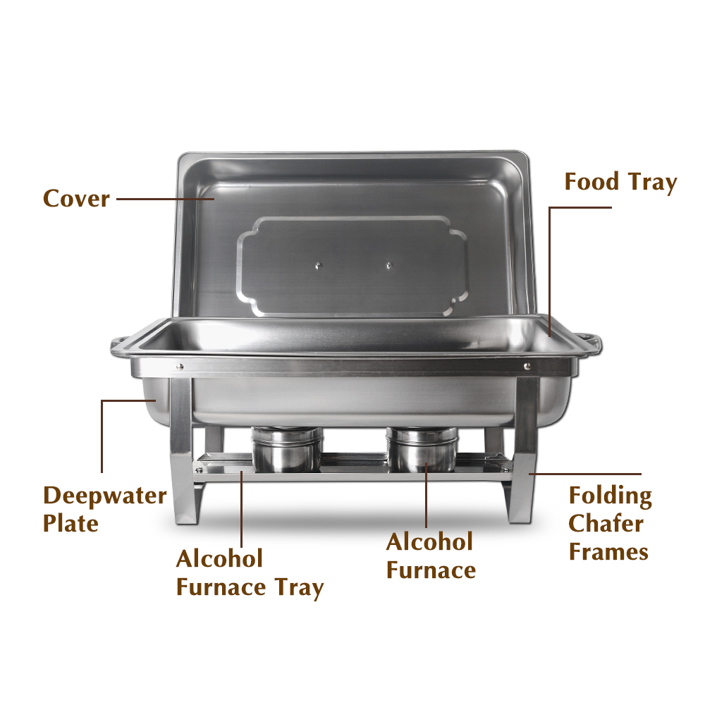 9L Chafing Dish Stainless Steel Buffet Catering 2 Food Pan Rectangular Chafing Dish Sets  Party Food Warmer Tray Utensil Set