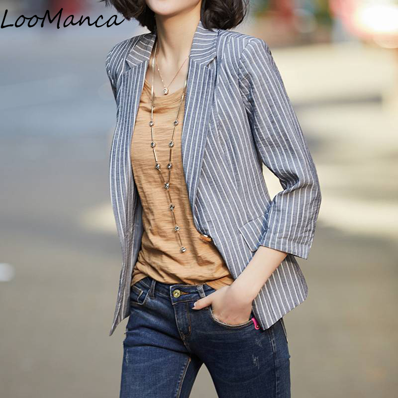 Vintage Women Blazers And Jackets Summer Spring Striped Ladies Suit Slim Short Coat Blazer Mujer Femme Blaser Plus Size 3XL jeans con blazer mujer
