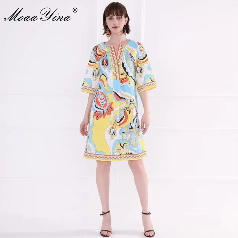 MoaaYina Fashion Designer Runway dress Spring Summer Women Dress Flare Sleeve Indie Folk Print Loose Dresses