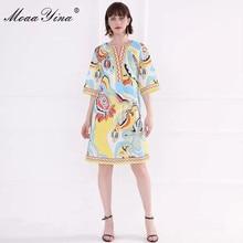 MoaaYina Fashion Designer Runway dress Spring Summer Women Dress Flare Sleeve Indie Folk Print Loose Dresses