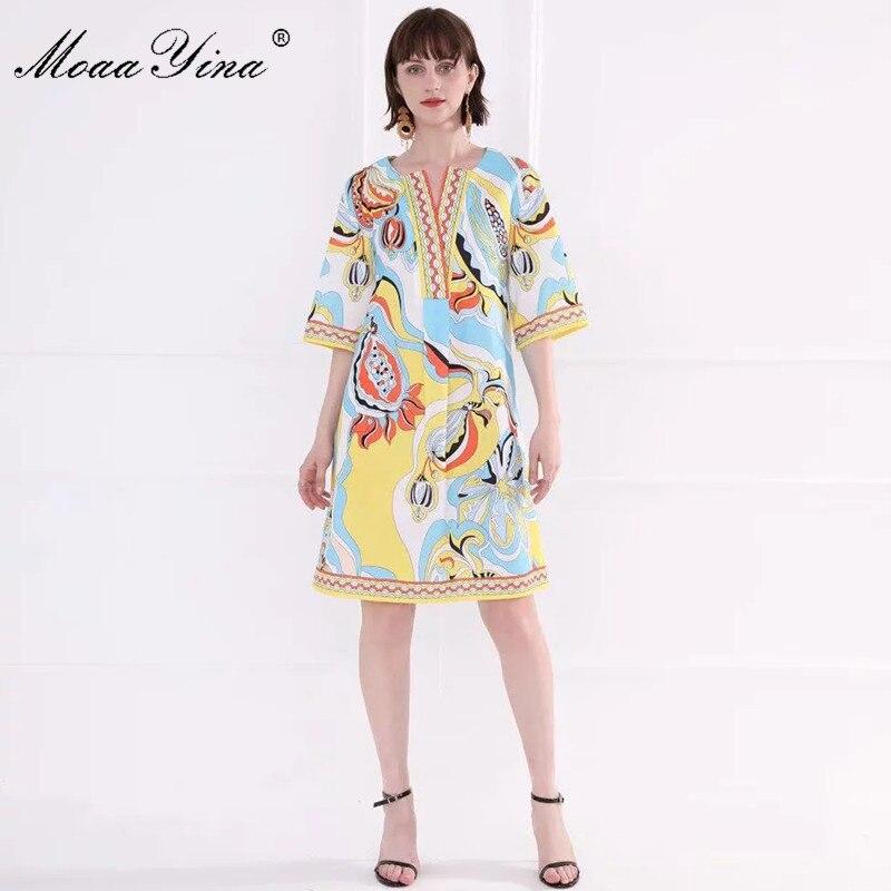 MoaaYina แฟชั่นรันเวย์ฤดูใบไม้ผลิฤดูใบไม้ผลิผู้หญิงชุด Flare แขนพื้นบ้านอินดี้พิมพ์ชุดหลวม-ใน ชุดเดรส จาก เสื้อผ้าสตรี บน   1