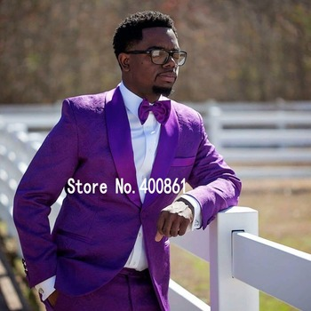 Classic Style One Button purple Paisley Groom Tuxedos Shawl Lapel Groomsmen Best Man Mens Wedding Suit (Jacket+Pants+Tie) W:458