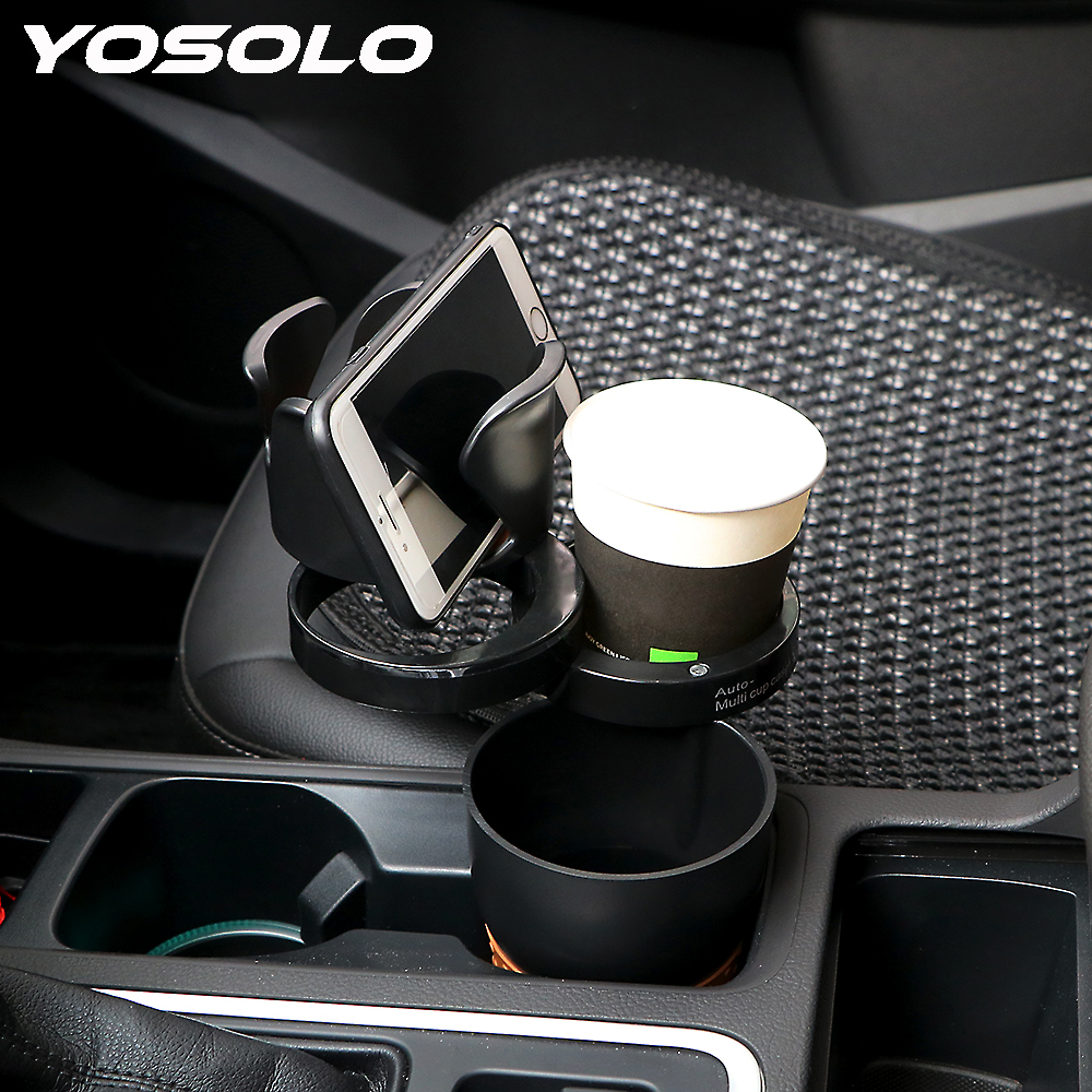 YOSOLO Multi-use Car Organizer Phone Holder Auto Sunglasses Drink Storage Cup Universal Car-styling for Coins Keys Phone Stand