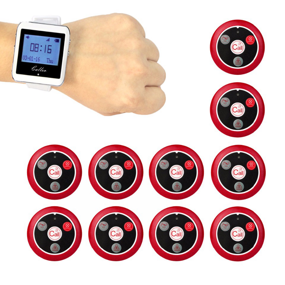 999 Channel Wireless Pager Restaurant Waiter Calling System 10pcs Call Transmitter Button+1pcs Watch Receiver 433MHz F3288 wireless restaurant call system restaurant equipment including 999 channel led display receiver with 20 pcs calling button