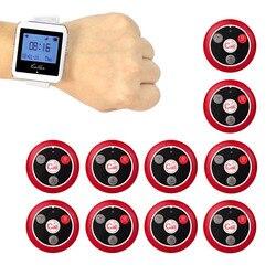 999 canal inalámbrico Pager restaurante sistema 10 piezas transmisor Button + 1 piezas reloj receptor 433 MHz f3288