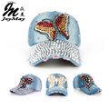 Joymay 2015 New Fashion Design Hat Cap Bling Butterfly  Rhinestone Jean Denim Baseball Cap For Woman B217-224