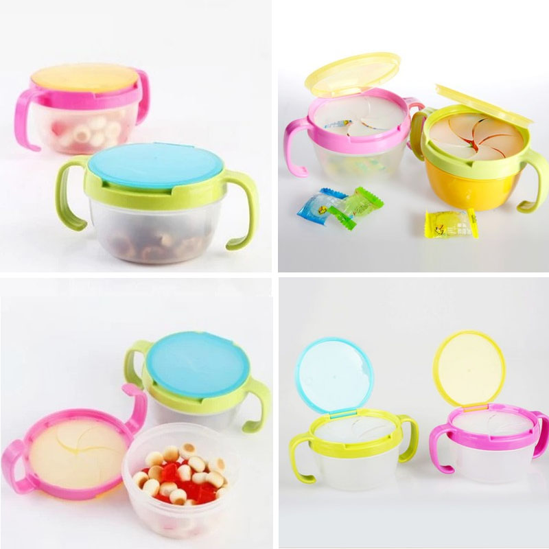 Baby Feeding Stuff Baby Snacks Bowl Children Kids Food Storage Dishes Anti Spill 360 Rotate Baby Solid Feeding Plate Tableware