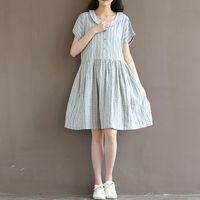 The 2016 Summer Style Fashion Leisure Women Fashion Retro Sweet Loose Stripe Baby Collar Cotton Dress