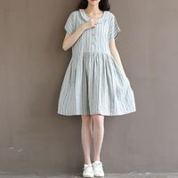 The 2016 Summer Style Fashion Leisure Women Fashion Retro Sweet Loose Stripe Baby Collar Cotton Dress