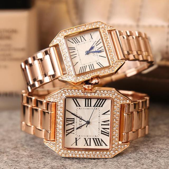 HK Famous GUOU Brand Fashion Square Luxury Gold Steel Diamond lovers watches Men