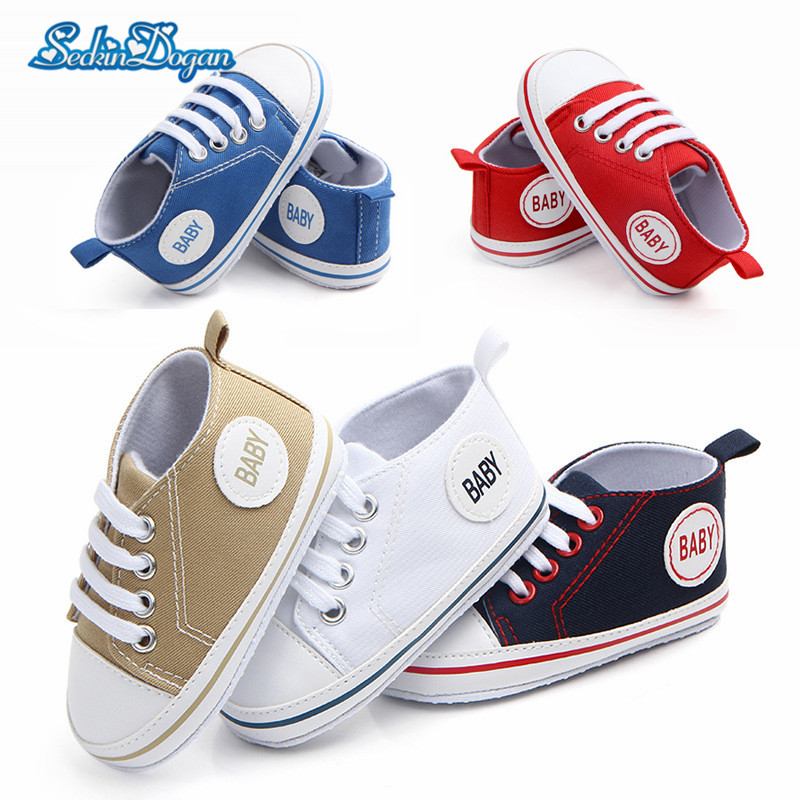 2018 New Baby Canvas Sneaker Sport Shoes Newborn Shoes Baby Boys Girls First Walkers Toddler Soft Bottom Lace-up Sneakers 0-18M