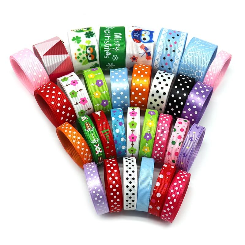 Ywzatgits разные варианты печатных Grosgrain/атласные ленты DIY Вышивание Hairbows подарочная упаковка Рождество интимные аксессуары 040054240