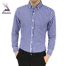 DOUDOULU 2018 Spring Summer Mens Suit Slim Fit Long Sleeve Button Striped Down Dress Shirts Tops Blouse slanted button shirts #3(China)