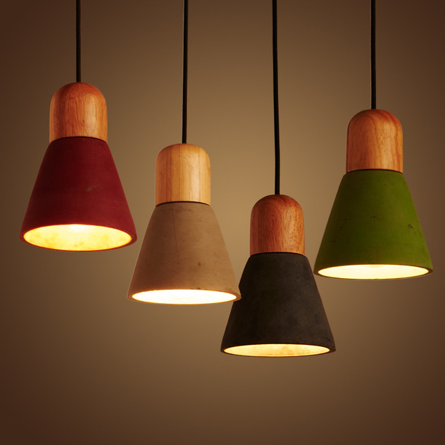 Nordic Solid WoodCement Restaurant  Single Head  pendent Lamp Creative Simple Bedside Lamp E27 A180