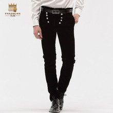 Free Shipping New fashion male trousers men's casual Slim 2015 Spring autumn men's black pants slim wedding 14850 custom-made