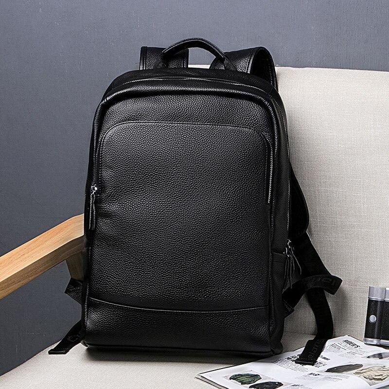 Sac à dos noir Simple hommes sacs d'affaires en cuir véritable pour hommes ordinateur portable de haute qualité sac à dos mâle sacs à chaussures pour adolescents garçons