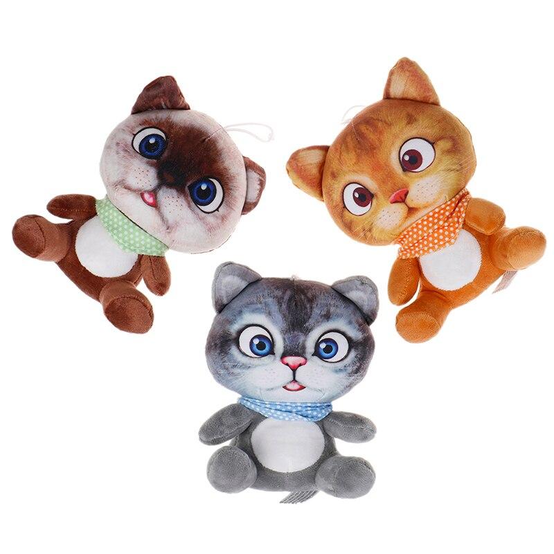 1 Pc 20 Cm Mini Schattige Zachte 3d Pluche Kat Speelgoed Knuffels Seat Sofa Kussen Kussen Cartoon Kat Pop Speelgoed Kinderen Speelgoed Meisjes Geschenken