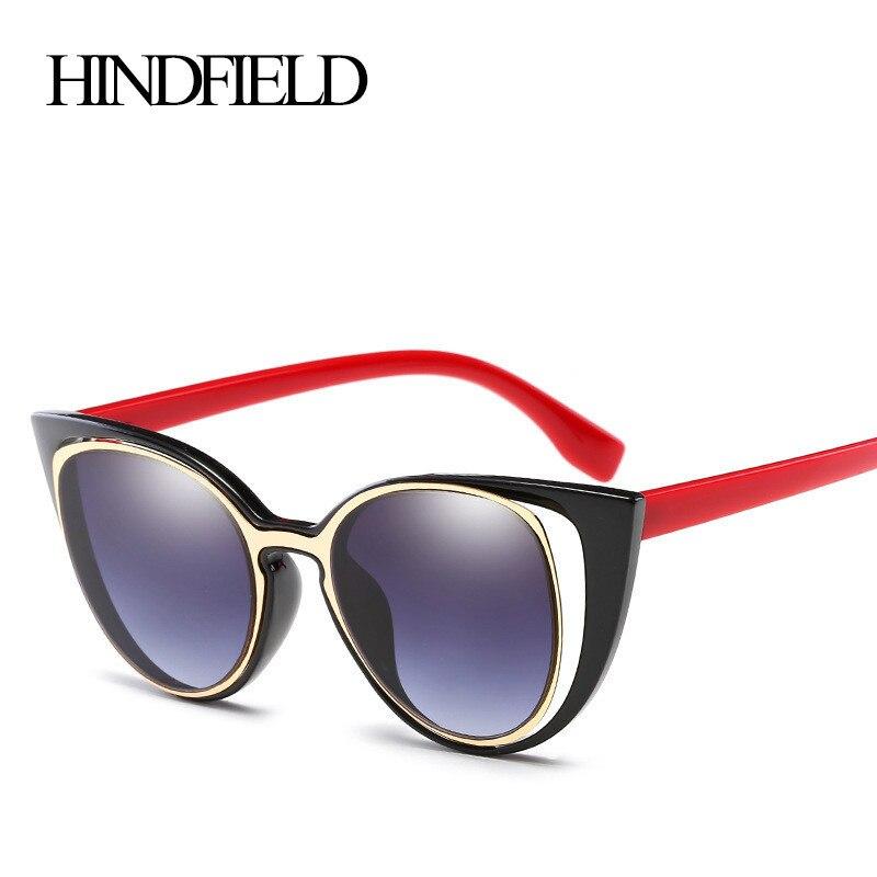 HINDFIELD Módní Luxusní Cateye sluneční brýle Dámské značky Designer Vintage Retro Sluneční brýle pro ženy oculos de sol feminino