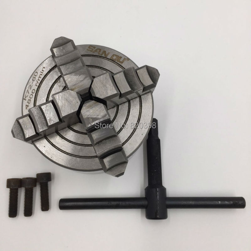 4 Jaw 80mm Lathe Chuck 3'' Four-Jaw Independent Chuck K72-80 M6 for CNC Lathe New independent lathe chuck 4 jaw cnc milling drilling tool k72 125mm tian pai
