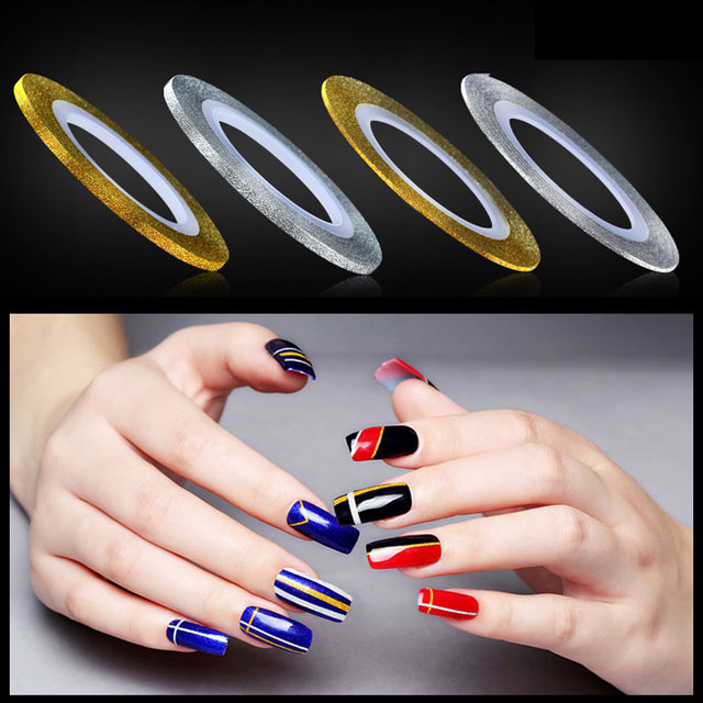 6pcsset gold and silver 3d glitter nail art striping tape lines 6pcsset gold and silver 3d glitter nail art striping tape lines self adhesive prinsesfo Images