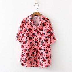 2019 New Women Blouses Holiday Casual Short Sleeve Tops Ladies Strawberry Printed Shirt Korean Summer Fashion Women Clothing 5