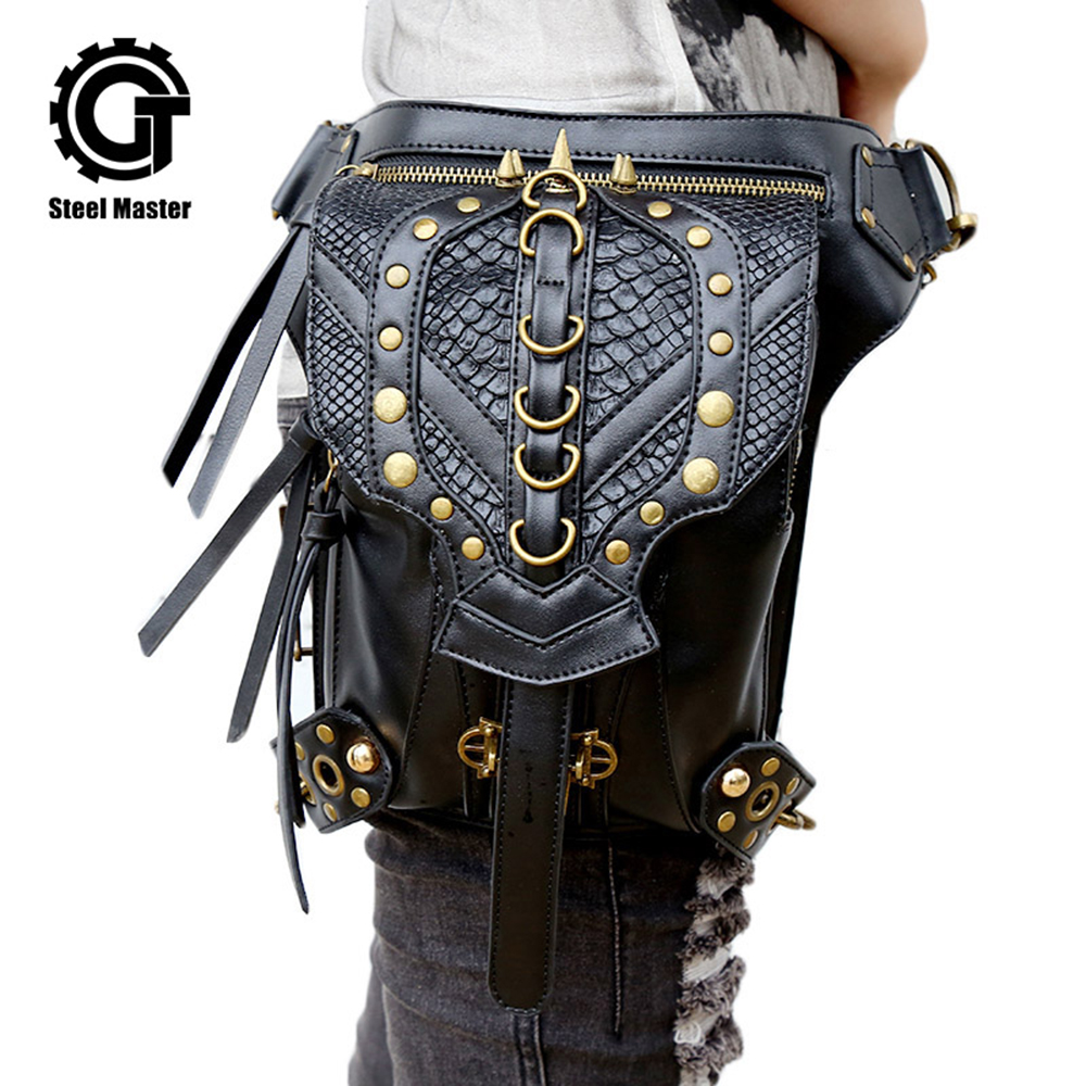 Punk Rock Waist Bag Womens Vintage Gothic Shoulder Bags Black Leather Rivet Cross Body Messenger Bag