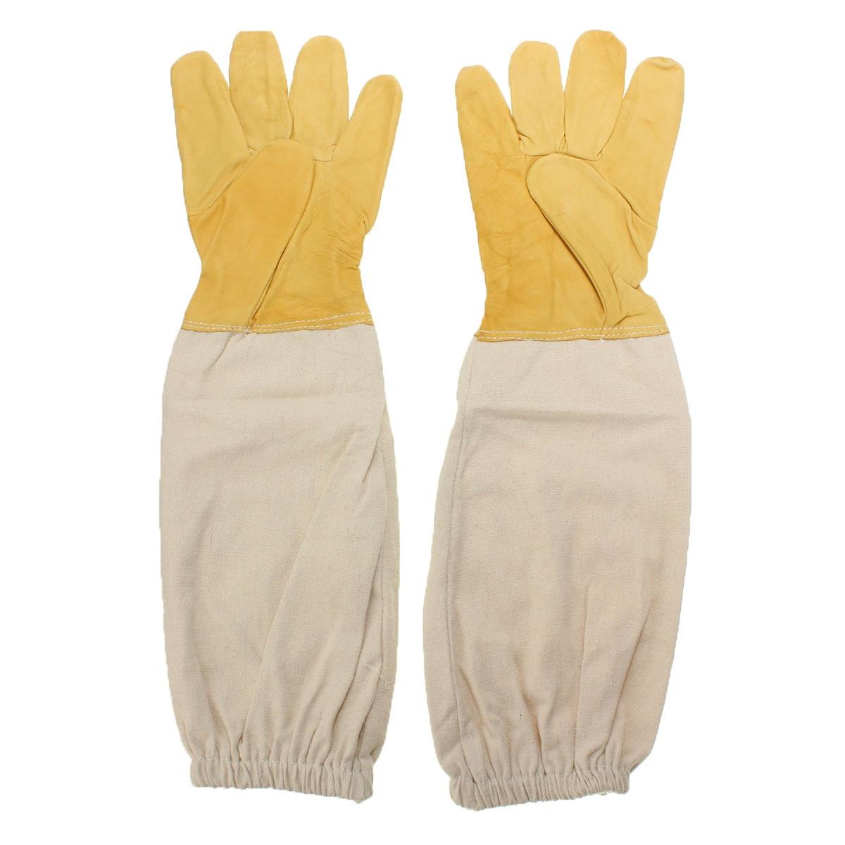 Yellow and white Pair Beekeeping Goatskin Cape Gloves XXL Sheepskin W/ Vented Long Sleeves Guard New комплектующие для кормушек beekeeping 4 equipment121mm 91 158