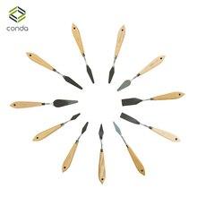 CONDA 11 sztuk drewna nóż do malowania ze stali nierdzewnej łopatka Palette nóż do artysta oleju farby narzędzia metalowe noże ostrze