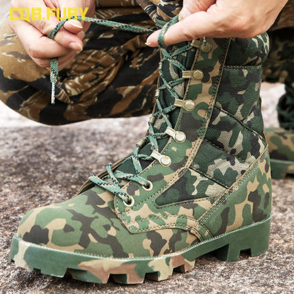 Men Tactical Combat Army Ankle Boots Breathable Hiking Shoes Hiking Camouflage Sport Work Safefy Mountain Climbing Shoes Boots
