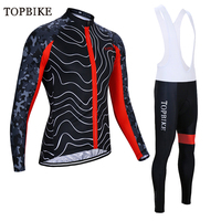 TOPBIKE Cycling clothing Set Autumn Bicycle Cloth Maillot Long Sleeve bib MTB Bike Cycling Jerseys Ropa Ciclismo bicycle Suit