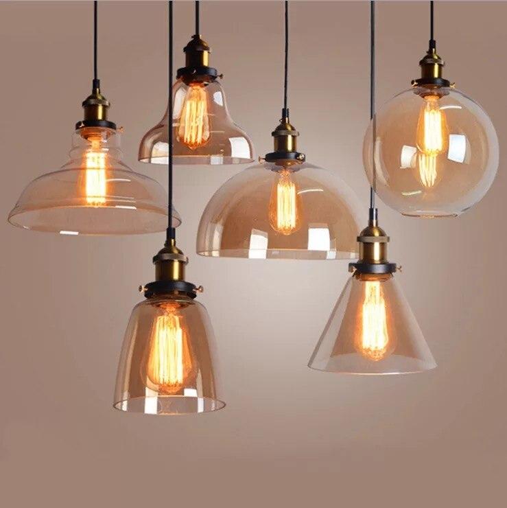Light Bulb Pendant Light Copper Glass Restaurant Pendant Light Single Pendant Light Vintage Retractable Wall Lamp American Style