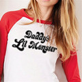 New Daddy's Lil Monster Ladies T-shirt Harley Quinn Costume Shirt Halloween Suicide Squad Top Long Sleeves 701