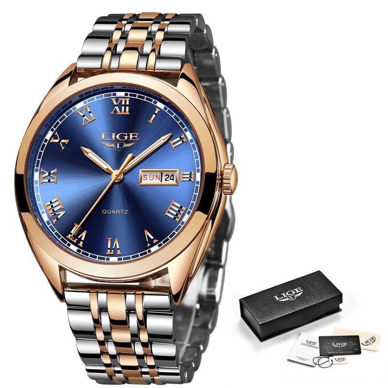 2019 LIGE Новый Розовое золото для женщин Деловые кварцевые часы дамы лучший бренд класса люкс женские наручные часы девушка Relogio Feminino