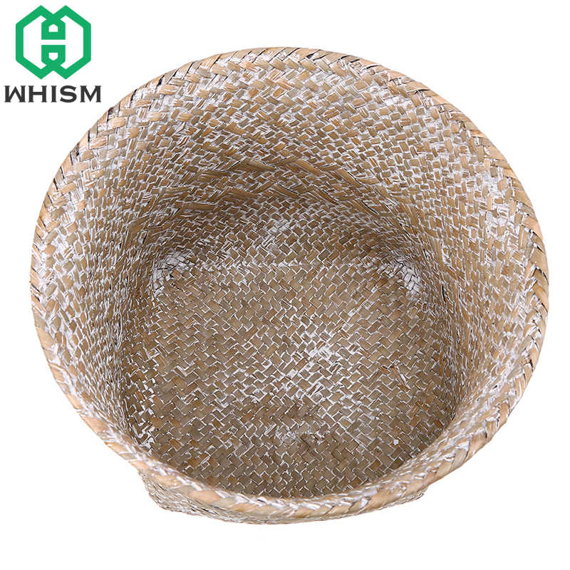 WHISM Artesanal Cesta Tecida Palha Rattan De Vime Seagrass Cesto De Armazenamento Cosméticos Organizador Titular de Artigos Diversos de Mesa de Armazenamento De Brinquedo