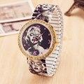 100 unids/lote Venta Al Por Mayor de Aleación de Reloj de Cuarzo de Moda Marilyn Monroe Elástica Contracción Tira de Diamantes Relojes de Las Mujeres