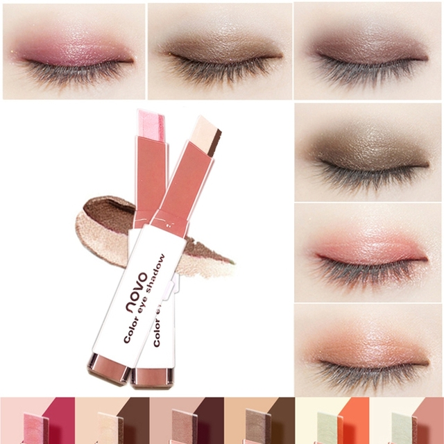 Eyeshadow Stick Stereo Gradien Shimmer Double Color Eye Shadow Cream Pen Eye Makeup Cosmetics Tool Waterproof 4