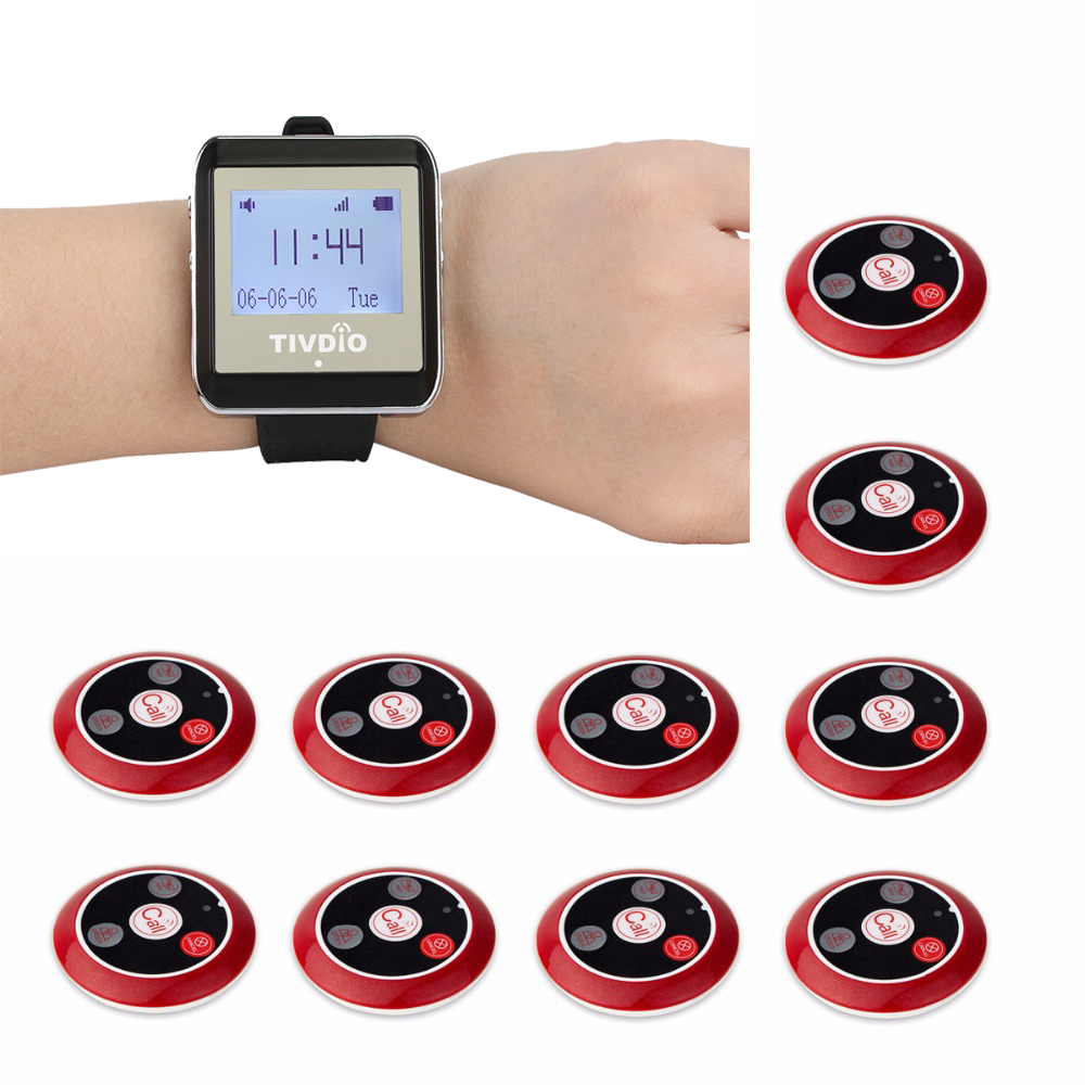 TIVDIO Restaurant Pager Wireless Calling System Paging System with 1 Watch Receiver + 10 Call Button Restaurant Equipment F4489C