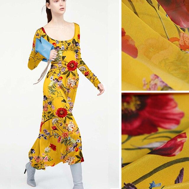 bcf1d8748f Print Floral Amarelo Solft Georgette de Seda Fina Camisa de Seda Crepe de  Chine Tecido para