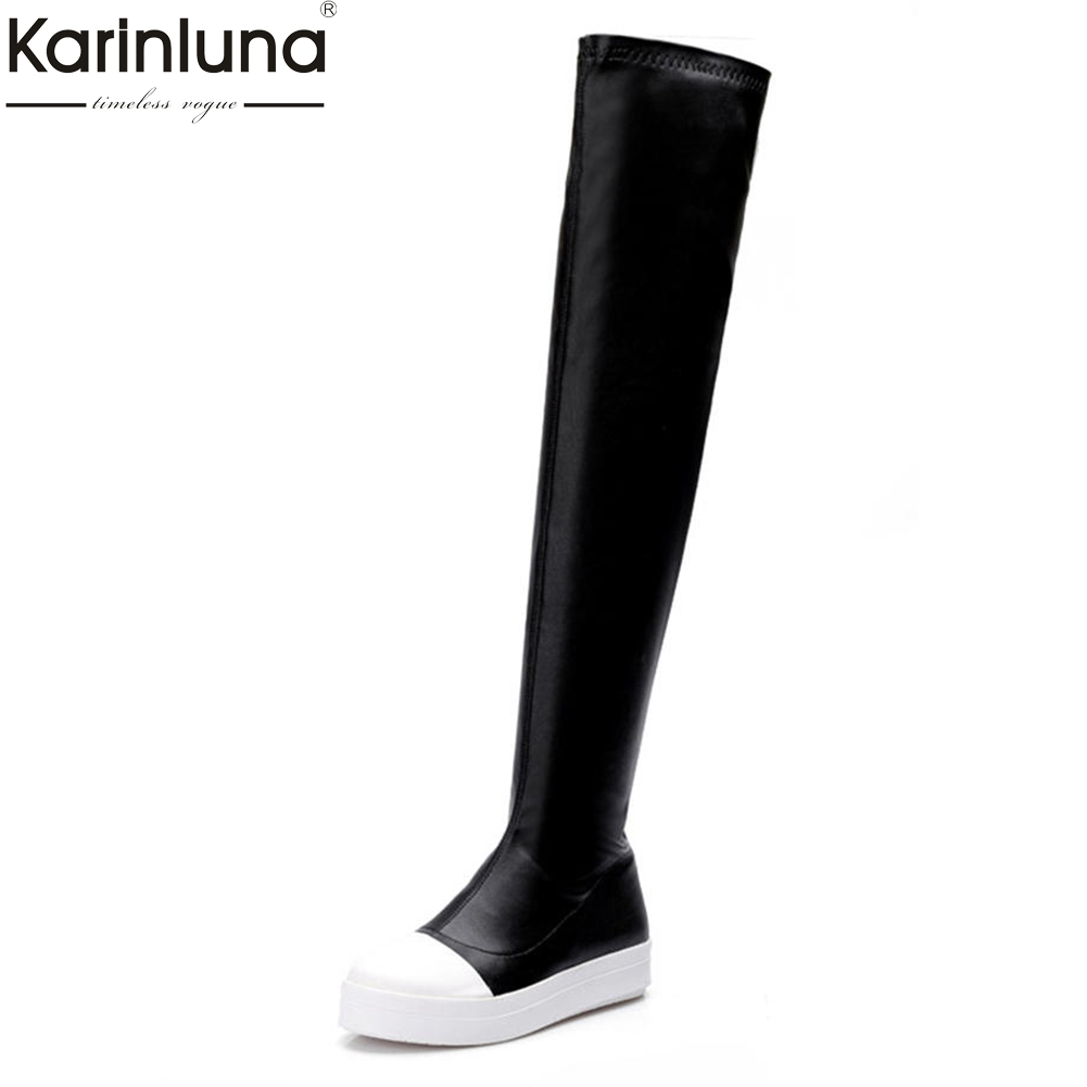KARINLUNA 2018 Large Size 34-43 Flat Platform women's Shoes Woman Boots Fashion Over The Knee Boots Woman Winter Leisure Boot аудио видео кабель черный usb 2 0 к 3 rca 1m